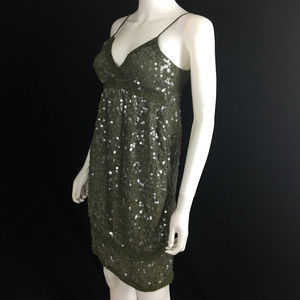 Olive Green Sequin Babydoll Silk Cotton Silk sz S